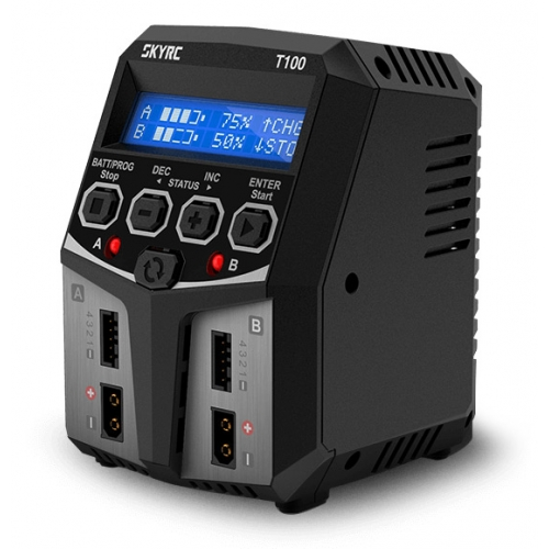 SKYRC T100 DUAL Balance Charger Discharger for LiPo/LiIon/LiFe/LiHV Battery 2-4S 2x50W 5A